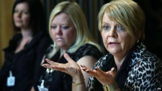 Campaigner Arlene McDougle addresses the MSPs
