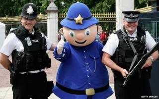 Laughing policemen with Mr Plod