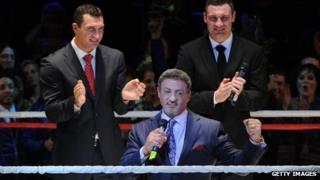 Sylvester Stallone with Wladimir and Vitali Klitschko