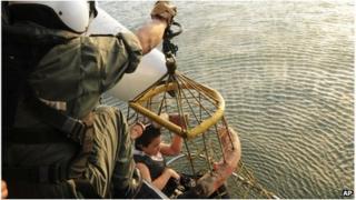 Rescued balloon crash survivor