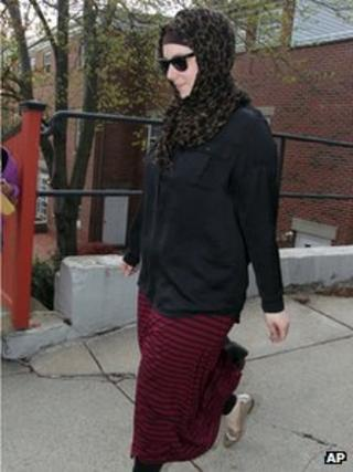 Katherine Russell, right, wife of Boston Marathon bomber suspect Tamerlan Tsarnaev, leaves the law office of DeLuca and Weizenbaum in Providence, Rhode Island 29 April 2013