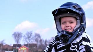 Boy at BMX track