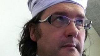 Headteacher Tim Luckcock wearing a turban.