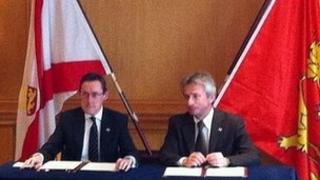 Senator Ian Gorst and Laurent Beauvais