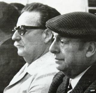 Pablo Neruda (right) and Salvador Allende (left)