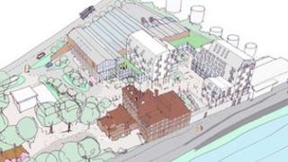 Artist's impression of the Tolly Cobbold brewery waterfront development in Ipswich