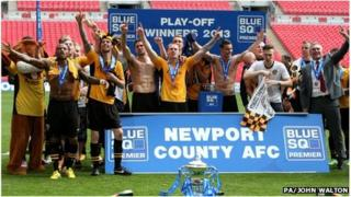 Newport County with trophy at Wembley