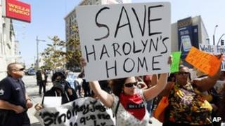US protesters against foreclosures