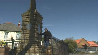 Kurtis-Ross Green at the Dersingham war memorial