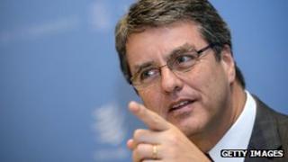 Brazil's Roberto Azevedo gesturing during a press conference in Geneva