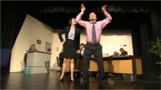 Stage production of The Office at Dudley Little Theatre