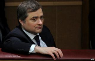 Vladislav Surkov listens to a speech by Russian President Vladimir Putin in Moscow, 11 April 2012