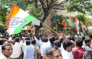 Congress party supporters celebrating win