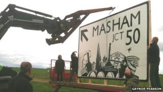 New road sign in Masham