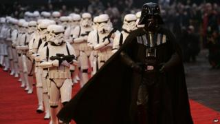 Darth Vader and storm troopers on the red carpet.