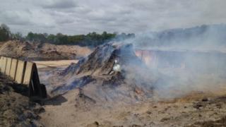 Wood mulch fire at Beenham