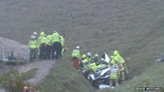 Scene of South Downs crash