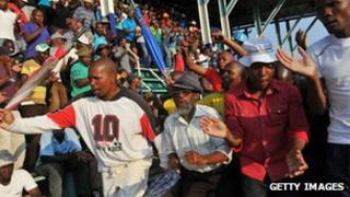 Lonmin miners on securing a 22% wage increase in September 2012