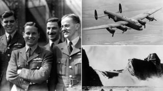 Left: Guy Gibson and the Dambusters crew, June 1943; a Lancaster bomber; the burst Mohne dam after the attack