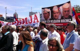 Kosovo Serbs rally in Mitrovica