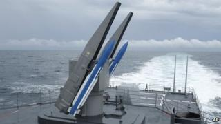Surface-to-air missiles on the rear of a Taiwan destroyer off the coast of Taiwan 16 May 2013