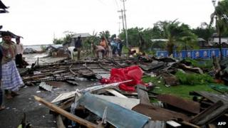 Destroyed houses and shops in Patuakhli, Bangladesh, on 16 May 2013