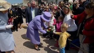 Queen and crowds on St Michael's Mount