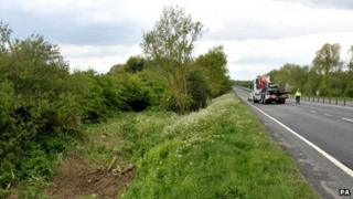The scene of the crash on the A419 near Swindon