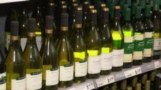 Wine in a supermarket