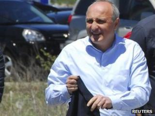Georgian ex-Prime Minister Vano Merabishvili arrives for questioning in Kutaisi, Georgia, 21 May