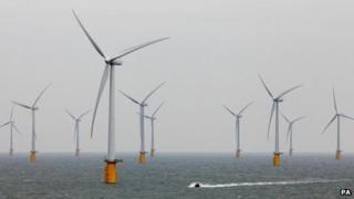 Wind turbines off Kent
