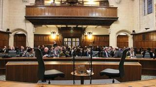 The Radio 4 audience await the arrival of Lord Neuberger inside the United Kingdom Supreme Court