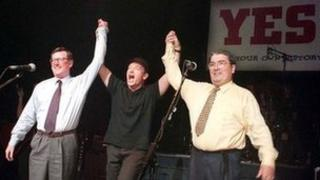 Rock star Bono campaigned for a yes vote days before the 1998 referendum