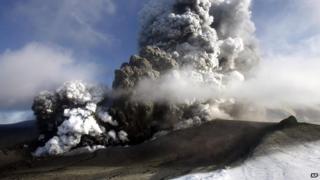 Eyjafjallajokull volcano in Iceland erupting in 2010