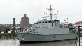 Warships sail into Liverpool
