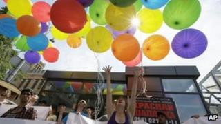 Gay rights activists stage an event in Kiev to protest against homophobia, 18 May 2013