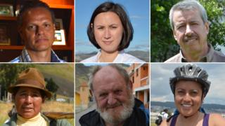 Five very different people talk to Michelle Fleury (top centre)) about their working lives in Quito, Ecaudor