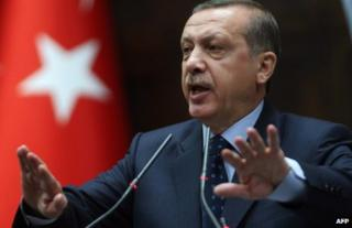 Turkish Prime Minister Recep Tayyip Erdogan in parliament in Ankara, 14 May