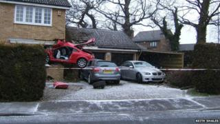 Audi crashed in Lowestoft home