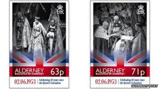 Alderney stamps celebrating 60 years since the Queen's coronation