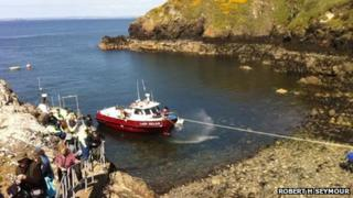 Lady Helen back at Martin's Haven being pumped out