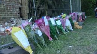 Floral tributes at the crash scene