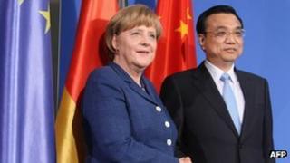 German Chancellor Angela Merkel and Chinese Premier Li Keqiang at a press conference