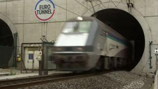 Eurotunnel train in the Channel Tunnel