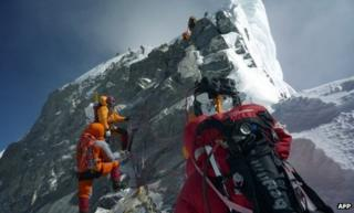 Mountaineers on Hillary Step, Mount Everest