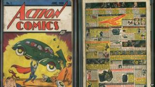 Action Comics No 1 issue from 1938, featuring the debut of Superman.