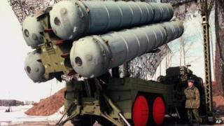 File pic from 1998 of a Russian officer with S-300 air-defence missiles at a military base outside Moscow, Russia