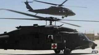 A US Black Hawk helicopter in Ghazni, Afghanistan 17 May 2013