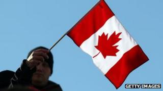 Man waves Canada flag