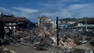 A destroyed market is seen in the downtown area of Lashio, Shan state of Myanmar on May 29, 2013.
